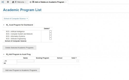 Add or Remove Academic Program