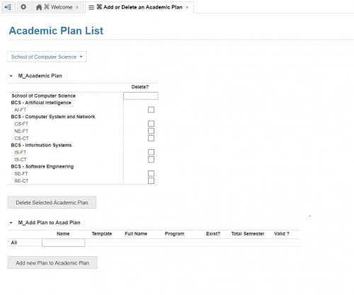Add or Remove Academic Plan