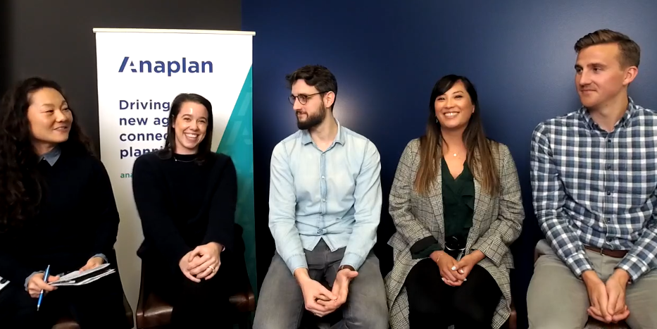 Host Hannah Cho interviews Erin Graupmann, Thibaud Raucoules, Stephanie Baure, and Byron Mikowicz during the Ask Me Anything portion of User Groups Live!