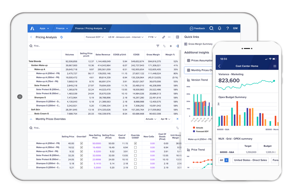 Anaplan's New UX on a tablet and mobile.