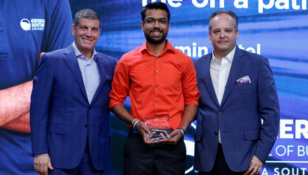Chief Executive Officer, Frank Calderoni; Student Anaplanner of the Year, Jaymin Patel; and Chief Planning Officer, Simon Tucker.