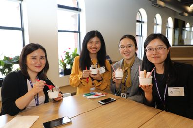 Our interns enjoying ice cream on their first day.