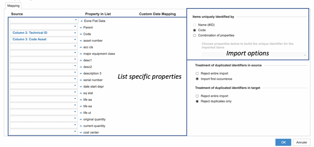 Figure 2: Mapping parameters for list import