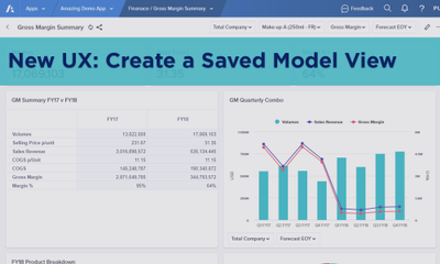 New UX: Create a Saved Model View