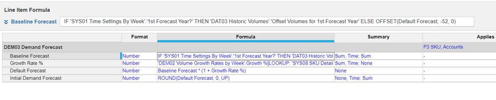 i entered these formulas for line items in demand forecast module but idint get  any values and even error also please check my formulas and tell me what will i do
